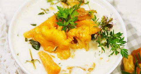 Eierschwammerlsuppe mit Süßkartoffeln